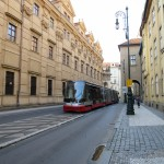 tram running down a Prague street