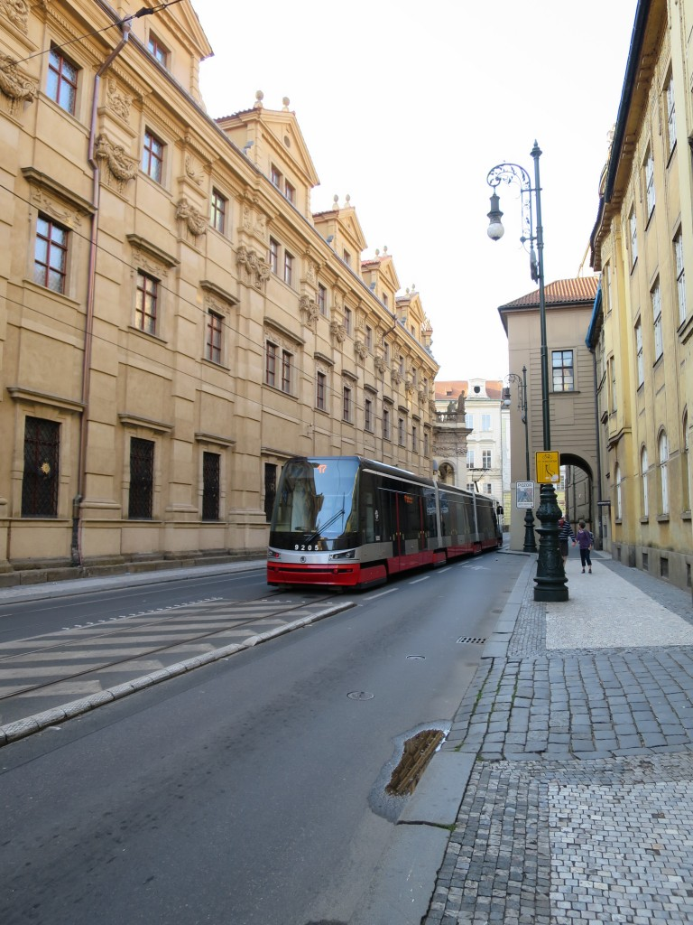 tram running down a Prague street